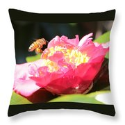 Cute Bee On Camellia Throw Pillow