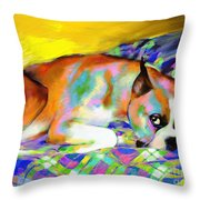 Cute Boxer Dog Portrait Painting Throw Pillow