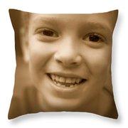Cute Boy Smiling Throw Pillow