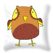 Cute Brown Owl Throw Pillow