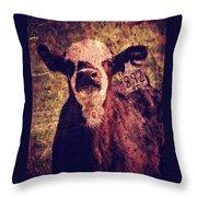 Cute Calf Grunge Throw Pillow by Cassie Peters