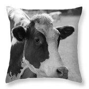 Cute Cow - Black And White Throw Pillow