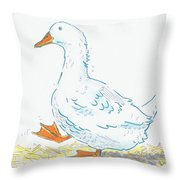 Cute Duck Cartoon Throw Pillow