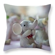 Cute Elephants Throw Pillow