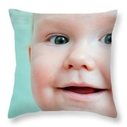 Cute Happy Baby Smiling In A Bathroom Throw Pillow