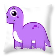 Cute Illustration Of A Brontosaurus Throw Pillow