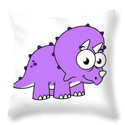 Cute Illustration Of A Triceratops Throw Pillow