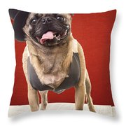 Cute Pug Dog In Vest And Top Hat Throw Pillow by Edward Fielding