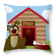 Cute Puppy Dog With Dog House Illustration Throw Pillow