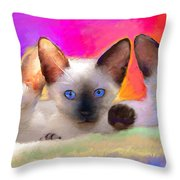 Cute Siamese Kittens Cats  Throw Pillow