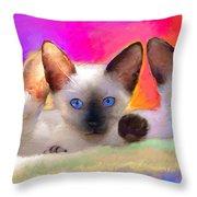 Cute Siamese Kittens Cats  Throw Pillow by Svetlana Novikova