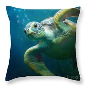 Bubbles The Cute Sea Turtle Throw Pillow