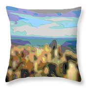 Cutout Art Ocean Skyline Throw Pillow