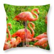 Cutout Layer Art Animal Portrait Flamingo Throw Pillow