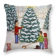 Cutting Our Tree Throw Pillow