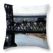 Cuyahoga River Cleveland Flats Throw Pillow