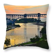 Cuyahoga River Cleveland Ohio Throw Pillow