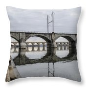Cv - Susquehanna River Bridge Harrisburg  Pennsylvania Throw Pillow
