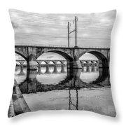 Cv - Susquehanna River Bridge Harrisburg  Pennsylvania In Black  Throw Pillow