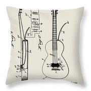 Cw Russell Acoustic Electric Guitar Patent 1939 Throw Pillow