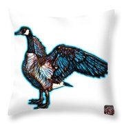 Cyan Canada Goose Pop Art - 7585 - Wb Throw Pillow