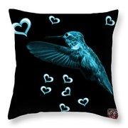 Cyan Hummingbird - 2055 F M Throw Pillow