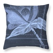 Cyan Negative Wood Flower Throw Pillow