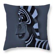 Bluegray Zebra Throw Pillow