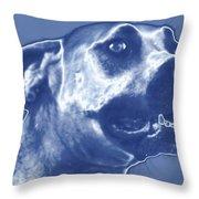 Cyanotype Dog Throw Pillow
