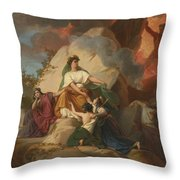 Cybele Opposing Vesuvius To Protect The Cities Of Stabia Throw Pillow