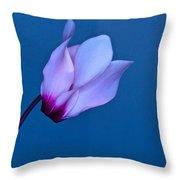 Cyclamen On Blue Throw Pillow