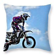 Cycle In The Air Throw Pillow