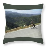 Cycling In Greek Mountains Throw Pillow