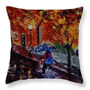 Cycling In The Rain Throw Pillow