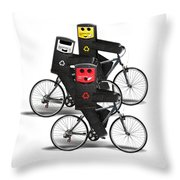 Cycling Recycle Bins Throw Pillow