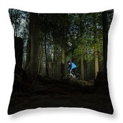 Cyclist In Mountain Forest Throw Pillow