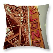 Cyclone Roller Coaster - Coney Island Throw Pillow