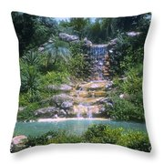 Cypress Garden Waterfalls Throw Pillow