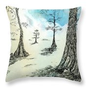Cypress In Ink Throw Pillow