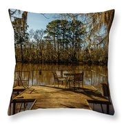 Cypress Trees At Caddo Lake State Park Throw Pillow