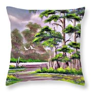 Cypress Trees-wakulla River Florida Throw Pillow
