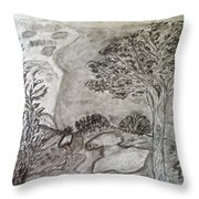 Cypresses In Cyprus Throw Pillow