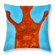 Cyprus Goddess With The Lifted Hands Throw Pillow by Augusta Stylianou