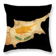 Cyprus Grunge Map Outline With Flag Throw Pillow