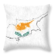 Cyprus Painted Flag Map Throw Pillow