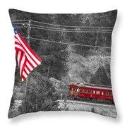 Cyrus K. Holliday Rail Car And Usa Flag Bwsc Throw Pillow
