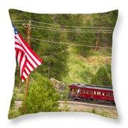 Cyrus K. Holliday Rail Car And Usa Flag Throw Pillow