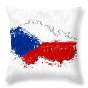 Czech Republic Painted Flag Map Throw Pillow