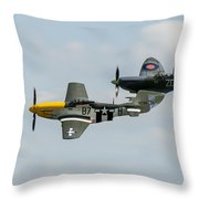 D-day Airshow Duo Spitfire And Mustang Throw Pillow