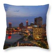 D101l Columbus Ohio Night Skyline Photo Throw Pillow